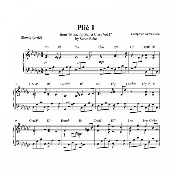 plié 1 piano sheet music for ballet class