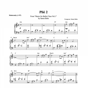 plié 2 piano sheet music for ballet class