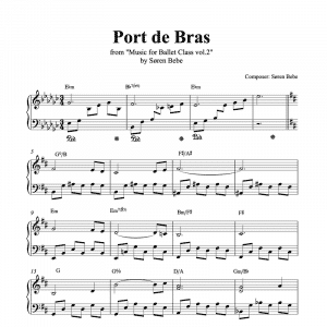 piano score for port de bras