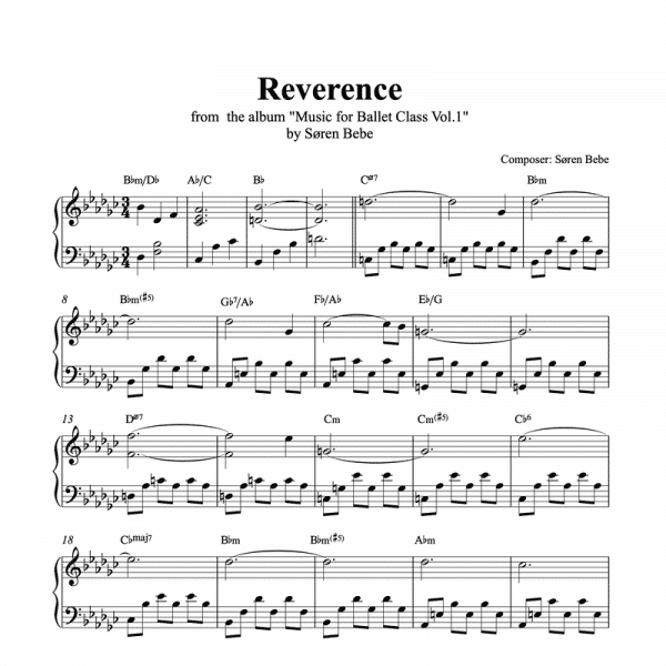 reverence piano sheet music for ballet class from music for ballet class vol.2 by soren bebe