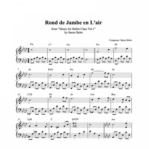 rond de jambe en l'air piano sheet music for ballet class from music for ballet class vol.2 by soren bebe