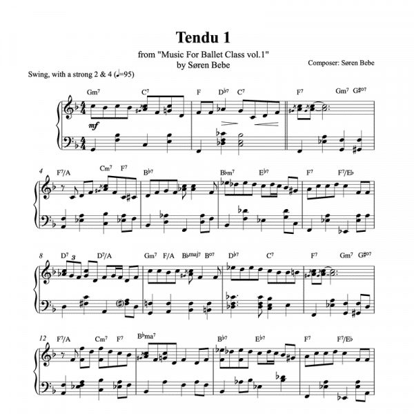 tendu 1 piano sheet music for ballet class