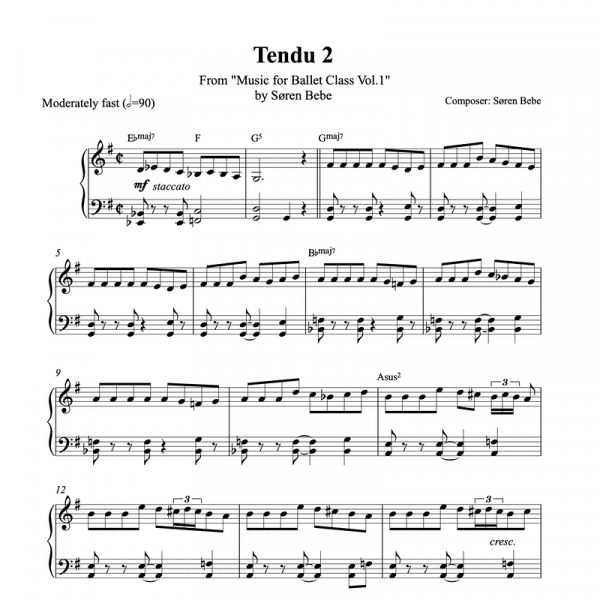 tendu 2 piano sheet music for ballet class