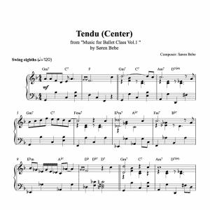 tendu center piano sheet music for ballet class from music for ballet class vol.2 by soren bebe