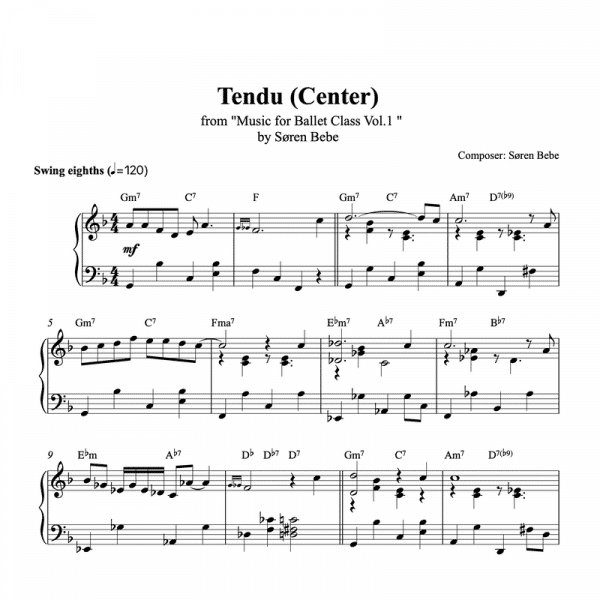 tendu center piano sheet music for ballet class from music for ballet class vol.2 by soren bebe
