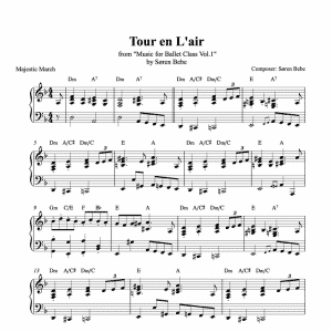tour en l'air piano sheet music for ballet class from music for ballet class vol.2 by soren bebe