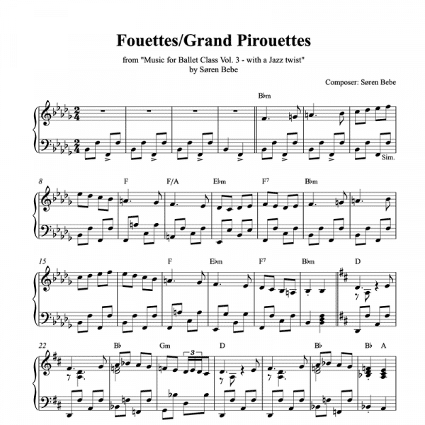 ballet class piano sheet music for fouettes or grand pirouettes