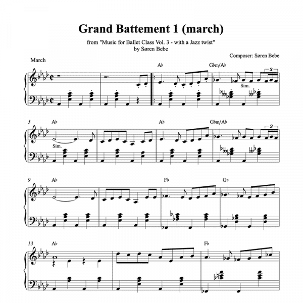 march piano sheet music for ballet class
