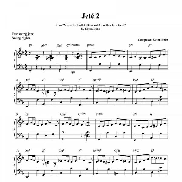 jeté 2 piano sheet music for music for ballet class vol.3 by soren bebe