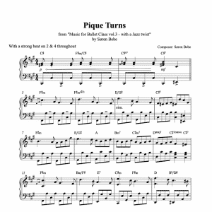 piano sheet music for pique turns to use in ballet classes