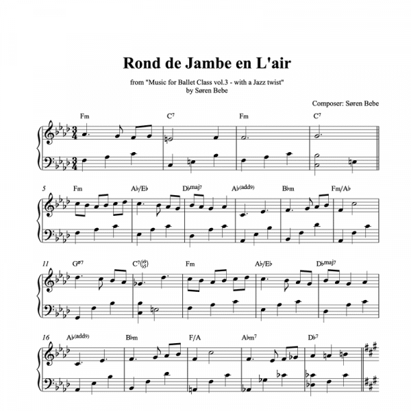 rond de jambe en l'air piano sheet music