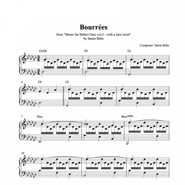 bourree ballet class sheet music for piano pdf
