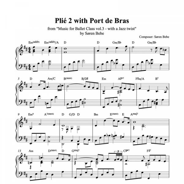 piano shhet music for plié with port de bras