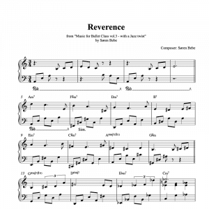 ballet class sheet music for a reverence exercise