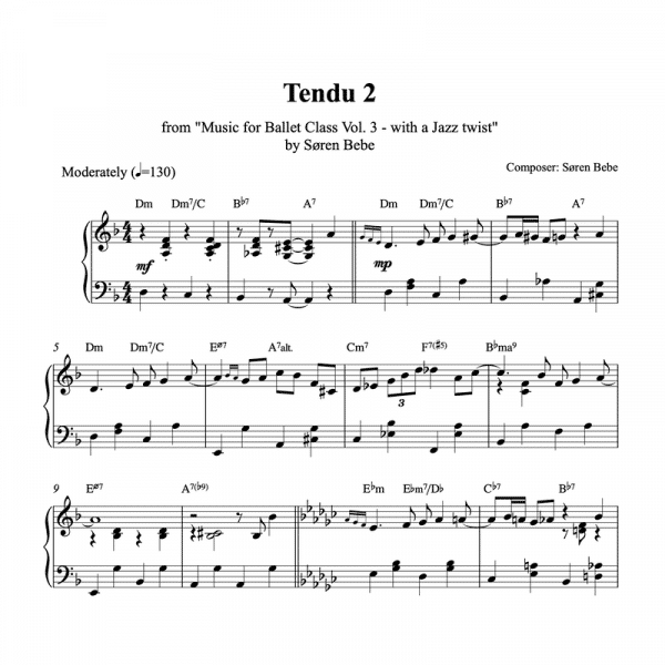 piano sheet music for a tendu ballet class exercise