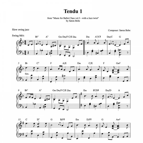 Piano tendu score for ballet