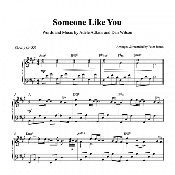 Piano sheet music for ballet class of adeles someone like you