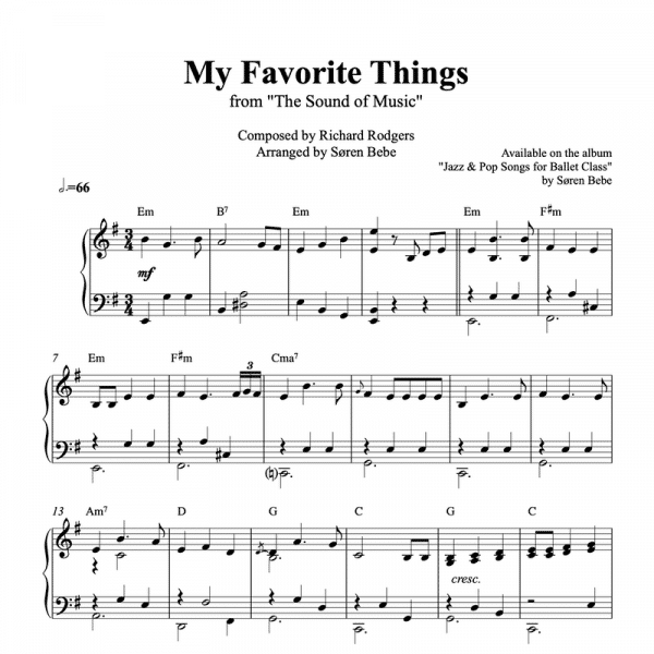 piano sheet music for my favorite things from the sound of music
