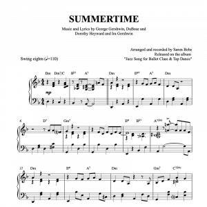 piano arrangement of summertime by gershwin for ballet classes tendu exercise pdf sheet music