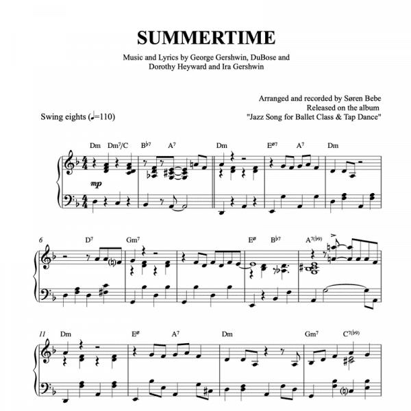 piano arrangement of summertime by gershwin for ballet classes tendu exercise pdf sheet music