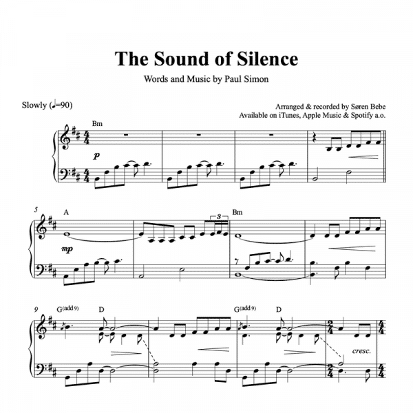 piano sheet music for the sound of silence by simon and garfunkel