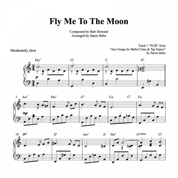 piano sheet music for a waltz arrangement of the song fly me to the moon pdf download