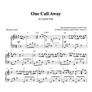 piano sheet music for one call away by charlie puth