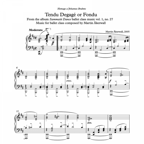 ballet class piano sheet music for a tendu degage or fondu exercise by composer Martin Akerwall