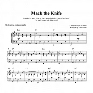 piano pdf sheet music for Mack the Knife by Kurt Weill