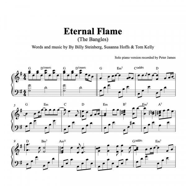 piano sheet music for Eternal Flame by the Bangles