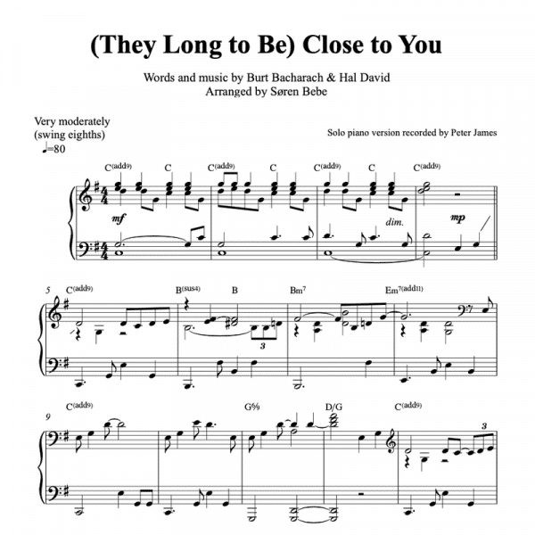 solo piano sheet music for they long to be close to you by the carpenters