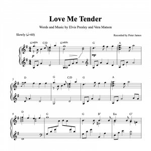 piano sheet music for Love me Tender by Elvis Presley