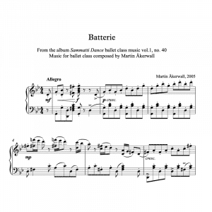 piano sheet music for batterie ballet class exercises