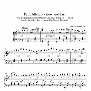 ballet class sheet music for petit allegros