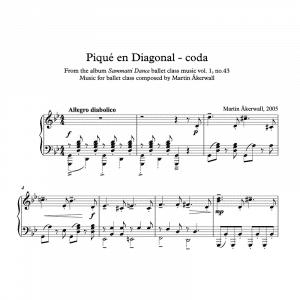 piano sheet music for a pique en diagonal or coda ballet class exercise