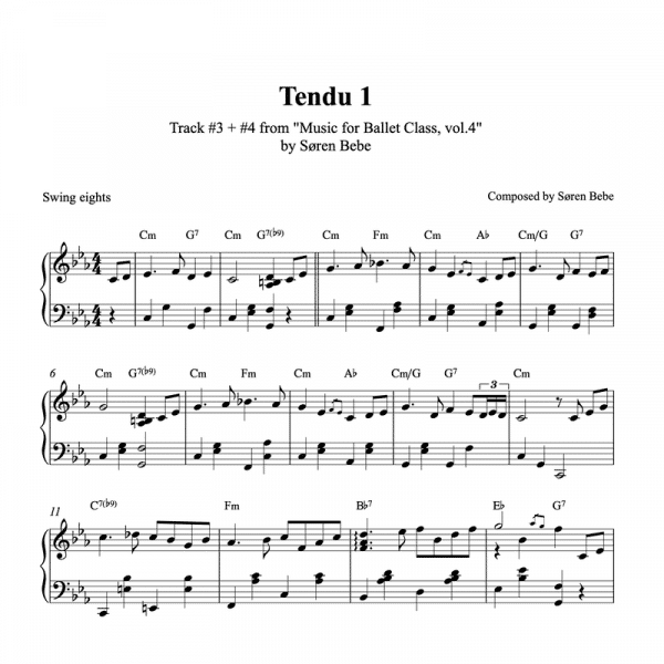 ballet class score for tendu by Soren Bebe pdf download