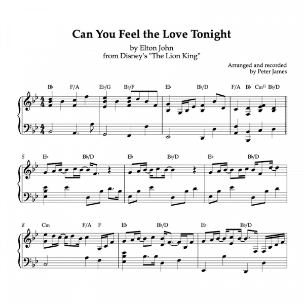 piano sheet music preview of can you feel the love tonight from disneys the lion king composed by elton john