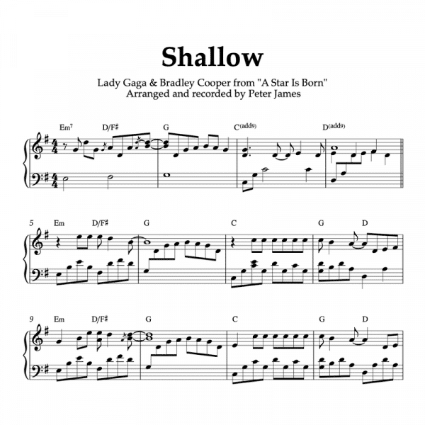 Shallow Piano Sheet music pdf lady gaga bradley cooper a star is born