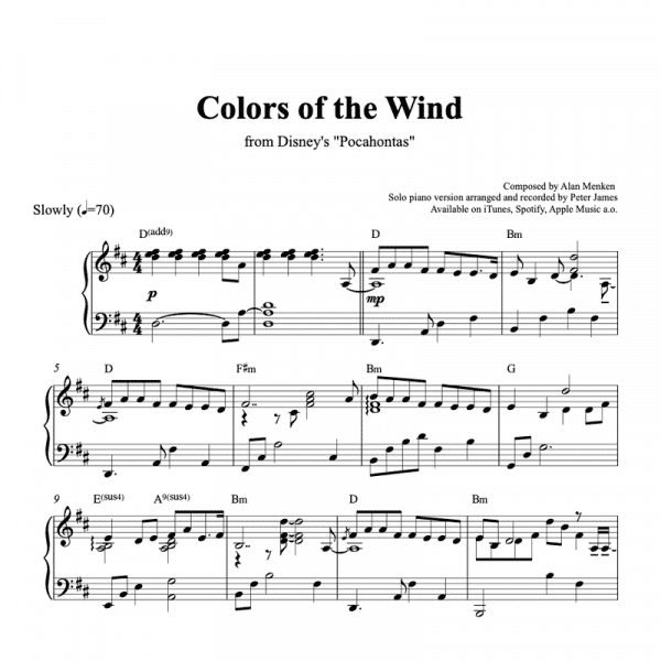 piano sheet music preview for colors of the wind from disneys pocahontas