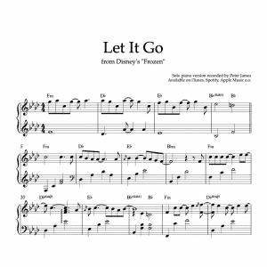 piano sheet music for let it go from disneys frozen movie