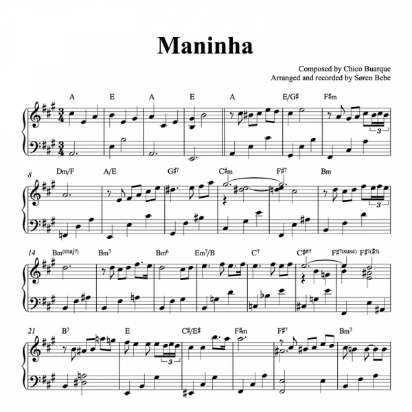 piano solo sheet music arrangement of maninha by chico buarque