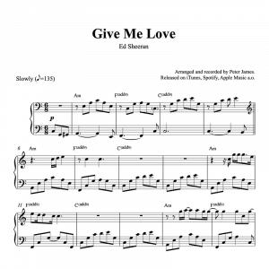 piano sheet music for give me love by ed sheeran