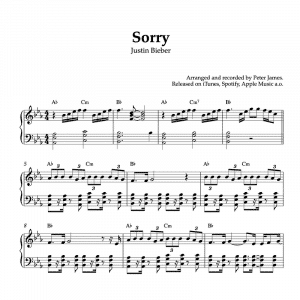 piano sheet music for the song sorry by justin bieber
