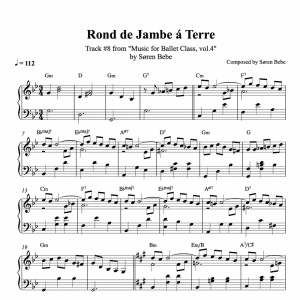 ballet class score for rond de jambe a terre exercises