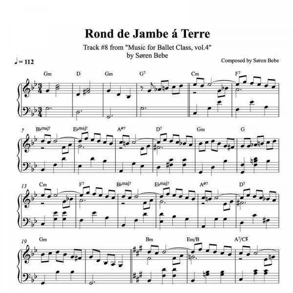 ballet class score for rond de jambe a terre exercises