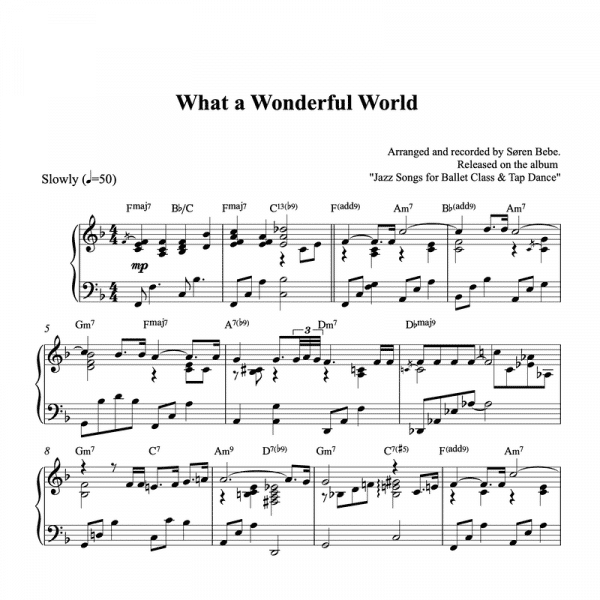 piano solo sheet music for the song what a wonderful world by louis armstrong
