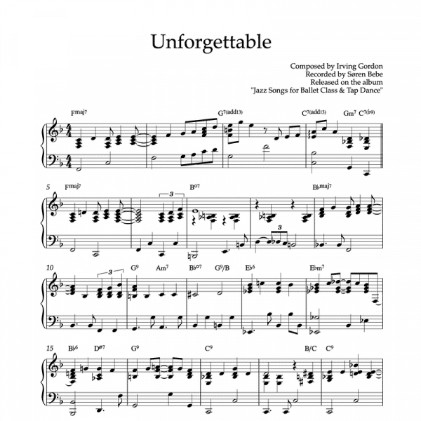 piano sheet music of unforgettable by nat king cole to use in ballet classes