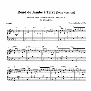 ballet class piano sheet music for a rond de jambe a terre ballet exercise