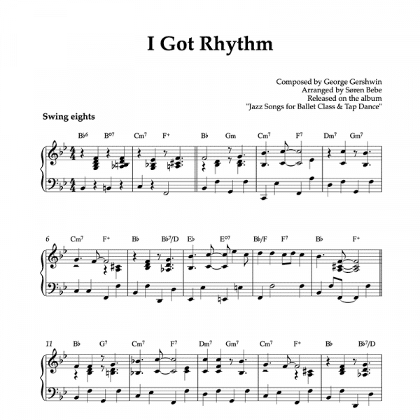 piano sheet music for I got rhythm by george gershwin to use in ballet classes or stand alone jazz piano piece