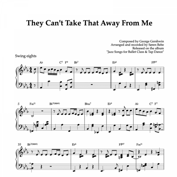 piano sheet music for gershwin's thet can't take that away from me